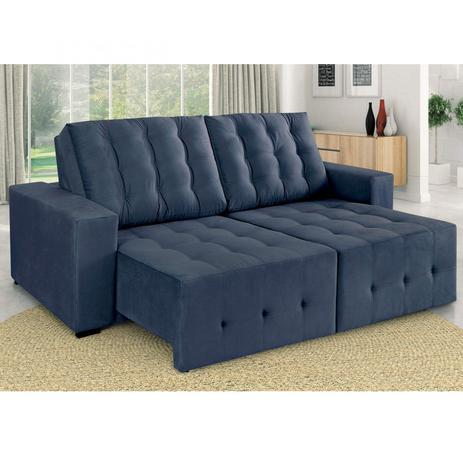 Sofa Retratil E Reclinavel 3 Lugares Suede Pero Estofart Azul