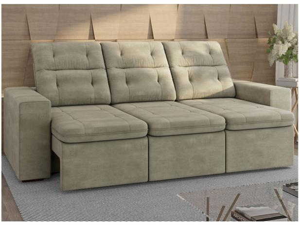 Sofa Retratil E Reclinavel 3 Lugares Veludo Connect Gralha Azul