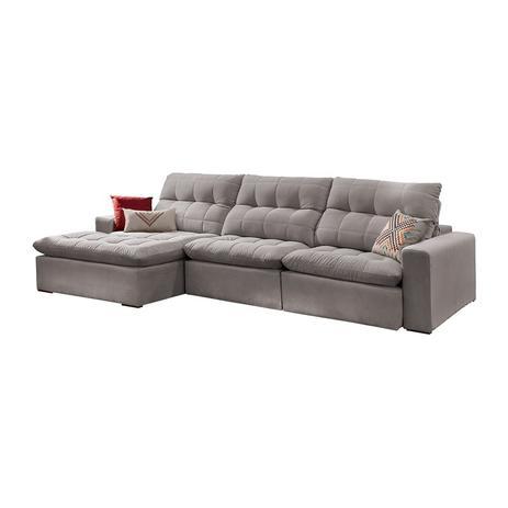Astounding Menor Preco Em Sofa Retratil E Reclinavel 4 Lugares Chumbo Com Chaise Octans Lara Moveis Pdpeps Interior Chair Design Pdpepsorg
