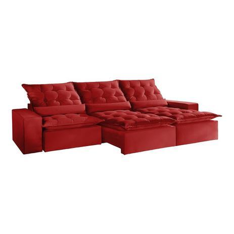 Imagem de Sofá Retrátil e Reclinável 7 Lugares Vermelho em Veludo 4,10m Lucan