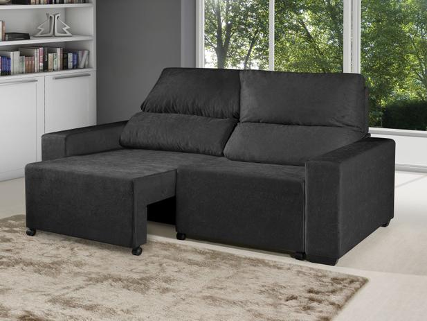 Sof retr til reclin vel 3 lugares suede elegance for Sofa zeus retratil e reclinavel