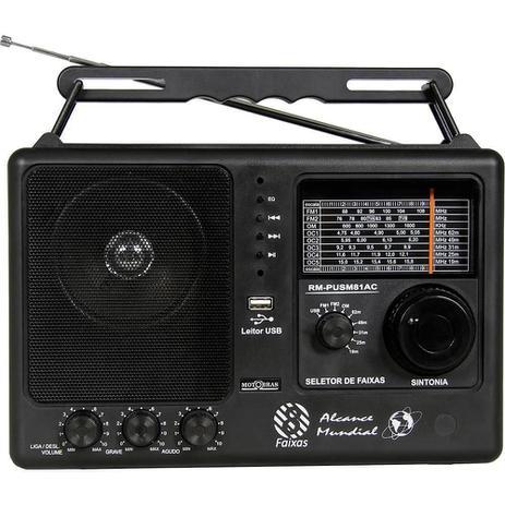 Imagem de Som Portatil Rádio Motobrás RM-PUSM81AC, 8 Faixas FM OC, USB - Preto
