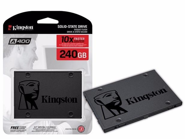 Imagem de SSD Kingston A400, 240GB, SATA, Leitura 500MB/s, Gravação 350MB/s - SA400S37/240G