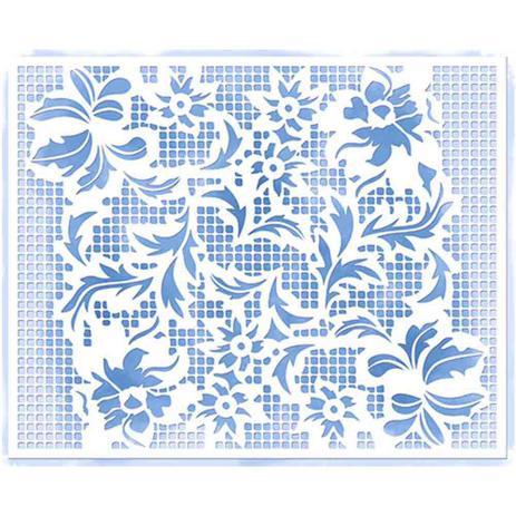 Imagem de Stencil Litoarte 20,5x16,6 STA2-028 Arranjo de Flores Rendado