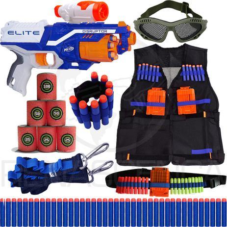db8de6c10a9c2 Super Kit Arma Nerf Disruptor + Colete + Óculos + Acessórios + 90 Dardos