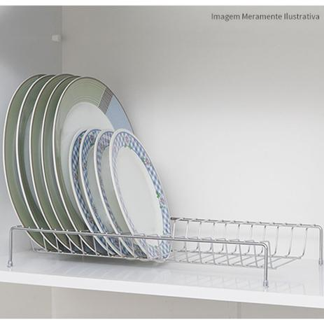 Imagem de Suporte Até 18 Pratos Aço Cromado Para Armário Cozinha