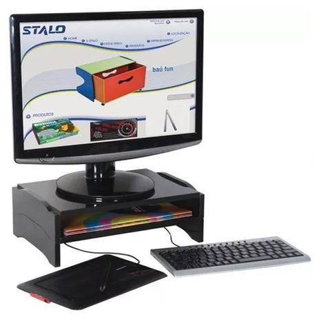 Imagem de Suporte Para Monitor Modular Duplo em MDF Preto R-9767