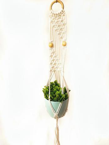 Imagem de Suporte para plantas em Macramê cor cru