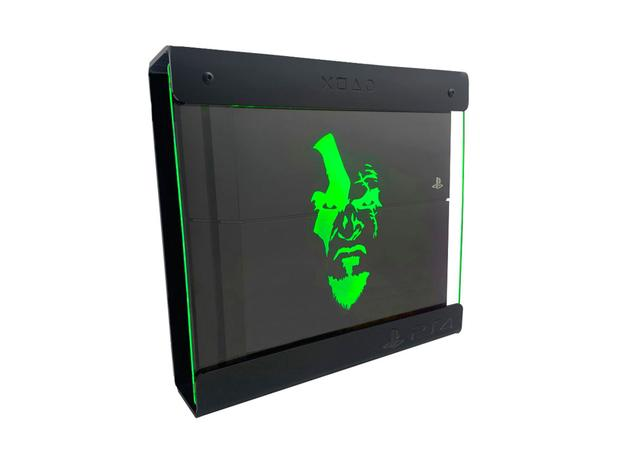 Imagem de Suporte Parede Iluminado Shield Ps4 PRO - Preto - Verde - God Of War (face)