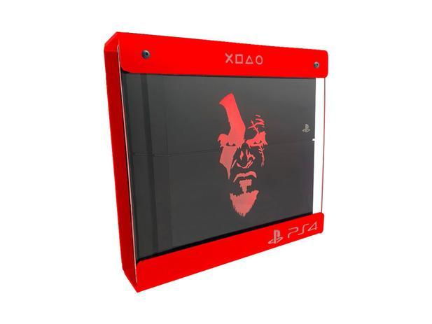 Imagem de Suporte Parede Iluminado Shield Ps4 PRO - Vermelho - Vermelho - God Of War (face)