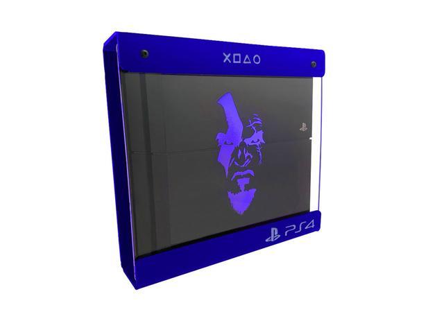 Imagem de Suporte Parede Iluminado Shield Ps4 Slim - Azul - Azul - God Of War (face)