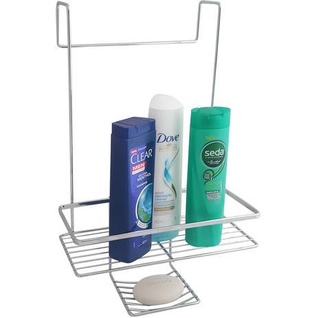 57cece3f7 Suporte Porta Shampoo Saboneteira Banheiro Encaixe No Box - Zanline ...