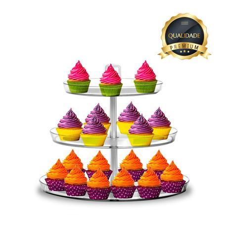 Imagem de Suporte Prato Porta Doces Bolo Cupcakes Três Triangulos