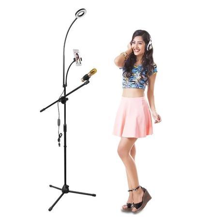 Imagem de Suporte,tripé p/microfone c/haste flexível p/celular e iluminador ring light LED