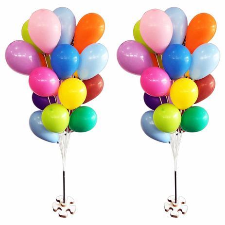 Suporte Varetas P 20 Bexigas Balão Imitam Gás Helio 2 Bases