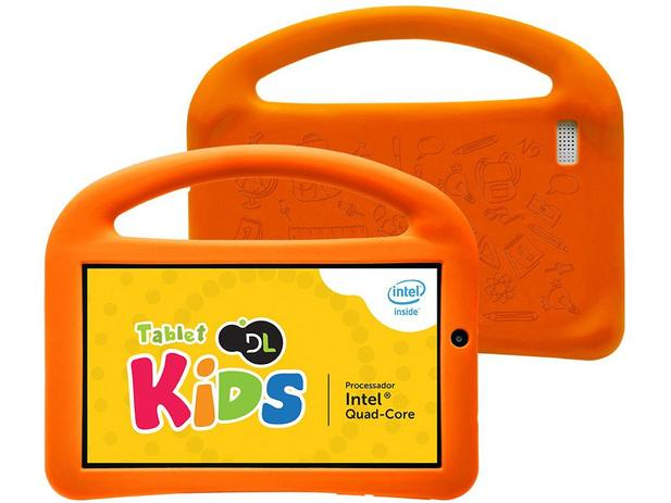 "Tablet DL Play Kids 8GB 7"" Wi-Fi Android 5.1 - Proc. Intel Quad Core Câmera Frontal"