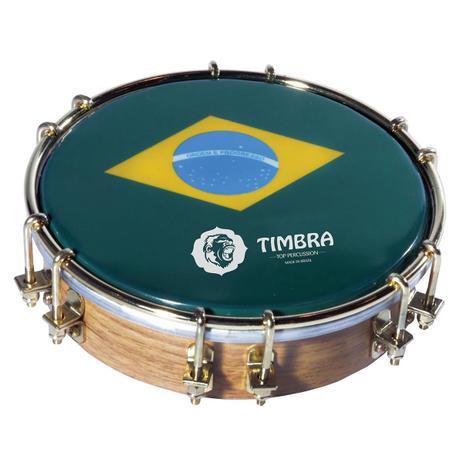 Imagem de Tamborim 06 pol madeira c/aro dourado 12 afinadores pele brasil p3 timbra 8672