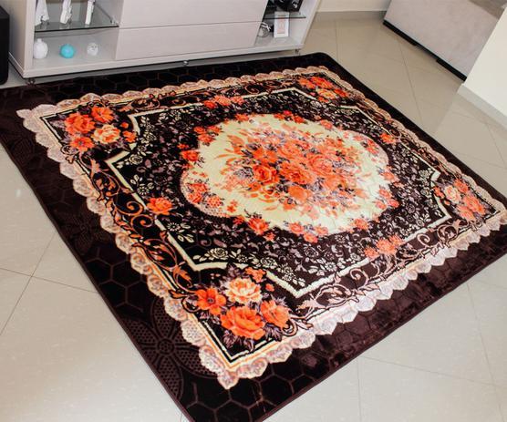 Imagem de Tapete Aveludado 3D Estampado Floral Marrom Café - 2,00x2,50