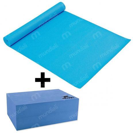 Tapete Colchonete para Yoga em Eva + Bloco de Apoio Azul Liveup ... dcafa35805a08