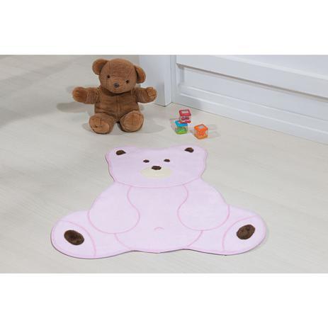 Imagem de Tapete de Pelúcia para Quarto Infantil Formato Urso Fofo Antiderrapante