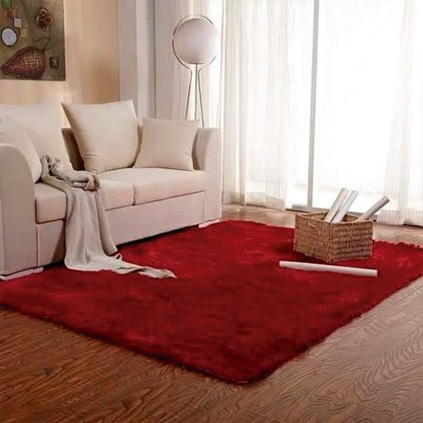 Imagem de Tapete Felpudo para Sala e Quarto Casa Dona 100x150cm Vermelho