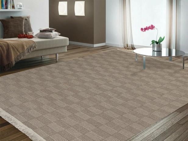 Imagem de tapete grande 100% algodão 2,00m x 1,40m  tapete sala quarto antialérgico lavável ATENAS BEGE / CRU