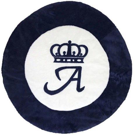 Imagem de Tapete Grande Emborrachado Coroa e Inicial Personalizado Azul Marinho