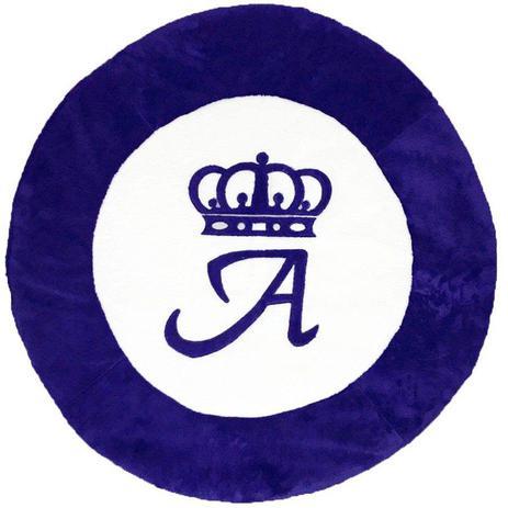 Imagem de Tapete Grande Emborrachado Coroa Inicial Personalizado Azul Royal
