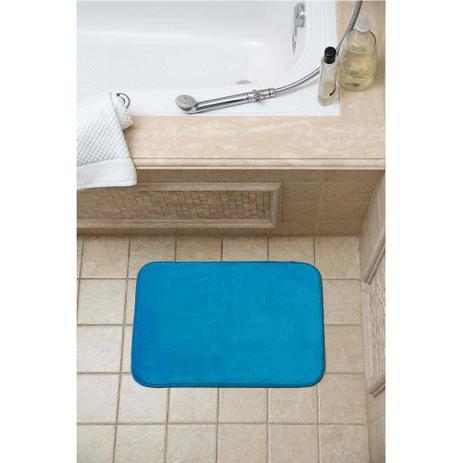 Imagem de Tapete para banheiro soft com memória azul