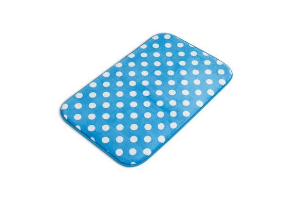 Imagem de Tapete para banheiro soft com memória azul poá