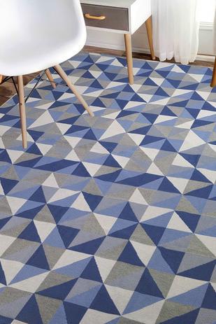 Imagem de Tapete Para Sala Azul  Antiderrapante 1,32X2,00 Mosaico