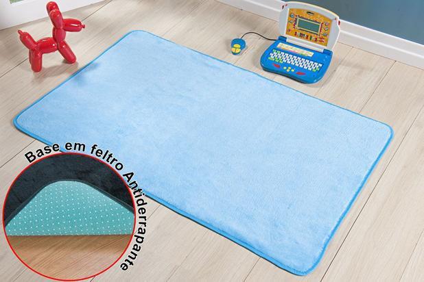 Imagem de Tapete Passadeira Antiderrapante Azul Lisa Quarto Infantil Menino Macio Fofo