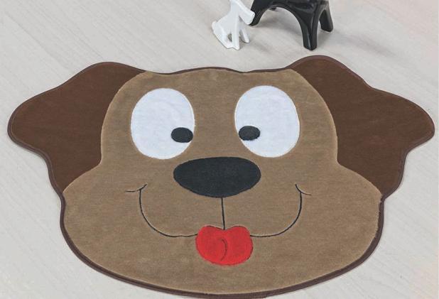 Imagem de Tapete Pelúcia Cachorro Bege Quarto Infantil Criança Fofo e Macio Decorativo