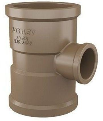 Imagem de Tê Redução Soldável Fortlev 50mm X 25mm Marrom - 5 Unidades