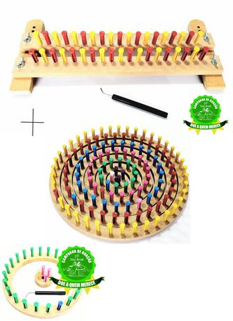 Imagem de Tear Circular Pino Plástico 6 Pç + Regulável 25 Cm + Agulhas