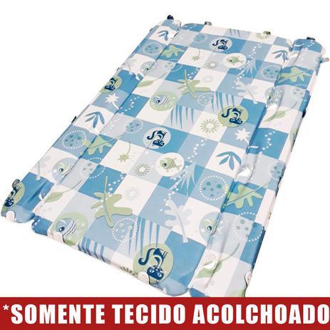 Imagem de Tecido Acolchoado para Trocador da Banheira Burigotto Millenia com Furos de Fixação - Peixinho Azul