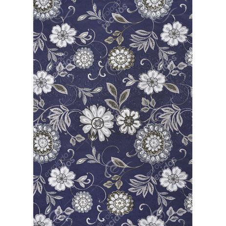697fcfb96 Tecido Jacquard Estampado Floral Branco Fundo Azul Marinho - 1