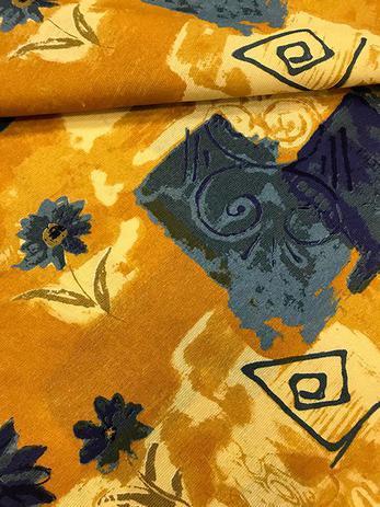 Imagem de Tecido para decoração Gorgurinho abstrato floral bege e azul