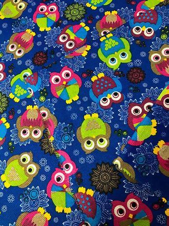 Imagem de Tecido para decoração Gorgurinho corujas azul
