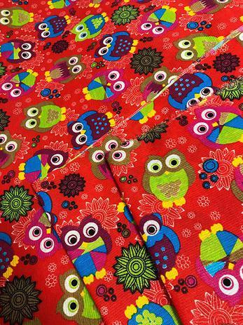 Imagem de Tecido para decoração Gorgurinho corujas vermelho