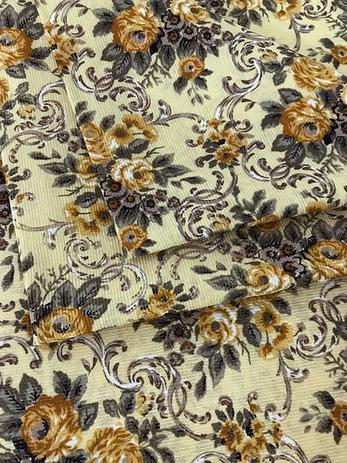 Imagem de Tecido para decoração Gorgurinho floral vintage amarelo