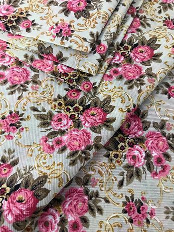 Imagem de Tecido para decoração Gorgurinho floral vintage bege rosa