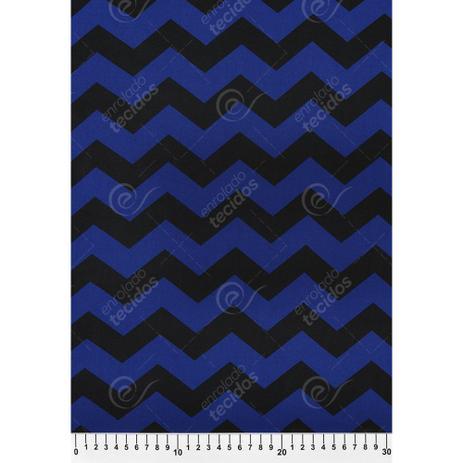 ad3d186491 Tecido Viscose Estampado Chevron Azul e Preto - 1,40m de Largura - Enrolado  tecidos