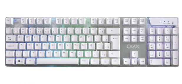 Imagem de Teclado Gamer USB OEX TC205 Prismatic Branco ABNT2 com LED