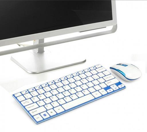 Imagem de Teclado Mouse Sem Fio Wifi 2.4 Ghz Slim Ipad Tablet Galaxy Tab Usb super fino Elegante melhor material
