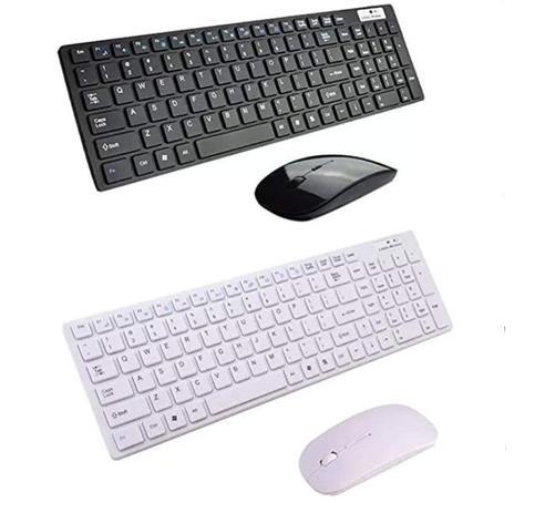 Imagem de Teclado + Mouse Slim Sem Fio Wireless Keyboard Dock 2.4g Pc,