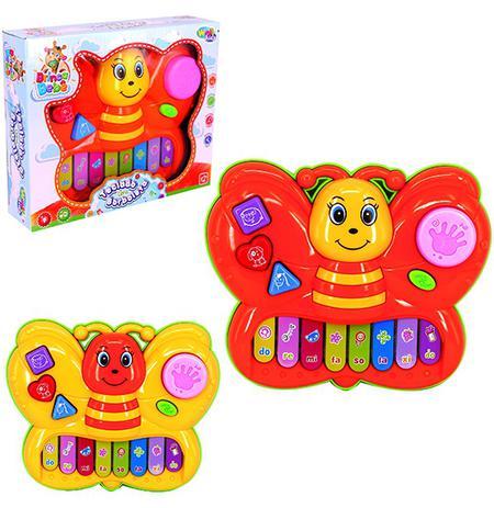Imagem de Teclado / piano musical infantil borboleta colors com luz a pilha na caixa