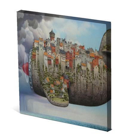 Imagem de Tela Canvas 30X30 cm Nerderia e Lojaria avião city colorido