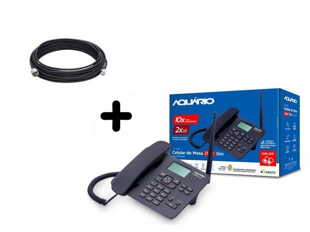 Imagem de Telefone celular fixo mesa dual chip ca-42s rural + cabo 10m