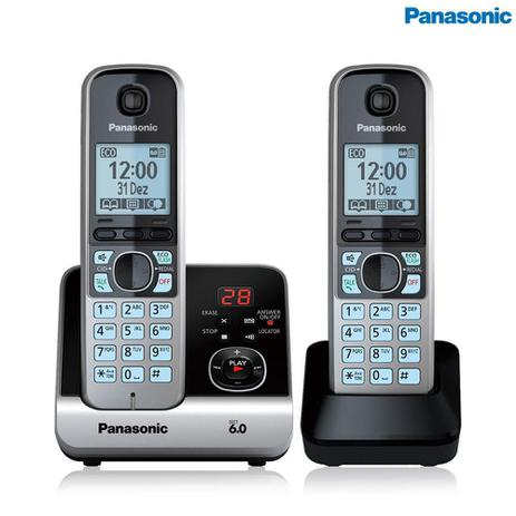 Imagem de Telefone Panasonic Sem Fio Base + Ramal Com Backup De Energia Kx-Tg6722Lbb